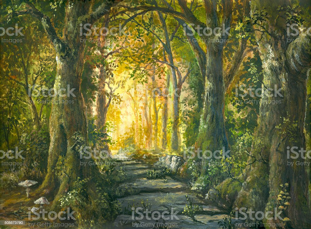 In the magic forest vector art illustration