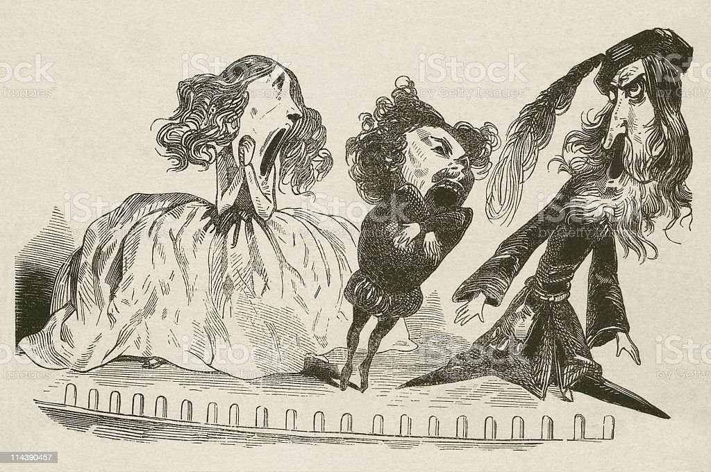 In the opera, cartoon, wood engraving, published in 1872 vector art illustration