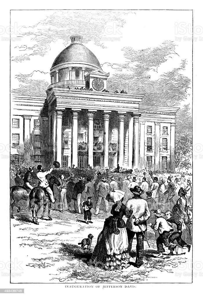 Inauguration of Jefferson Davis vector art illustration