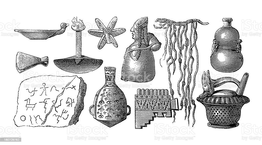 Inca artefacts (antique wood engraving) vector art illustration