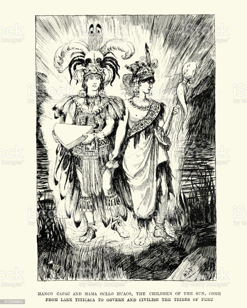 Inca mythology - Manco Capac and Mama Ocllo vector art illustration