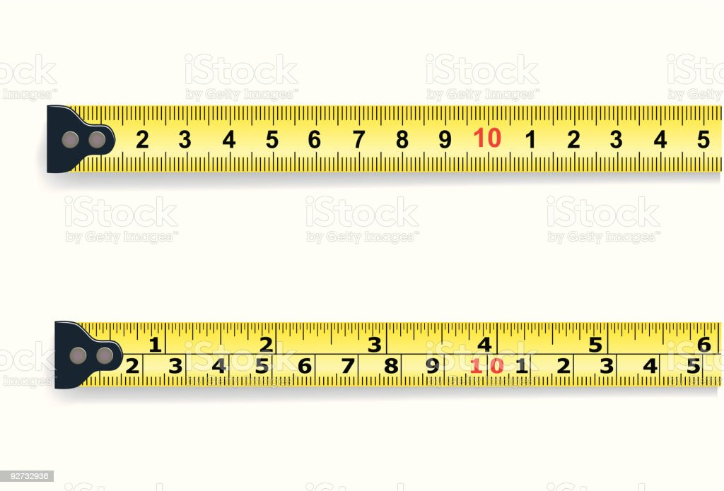 inch and centimeter measure vector art illustration