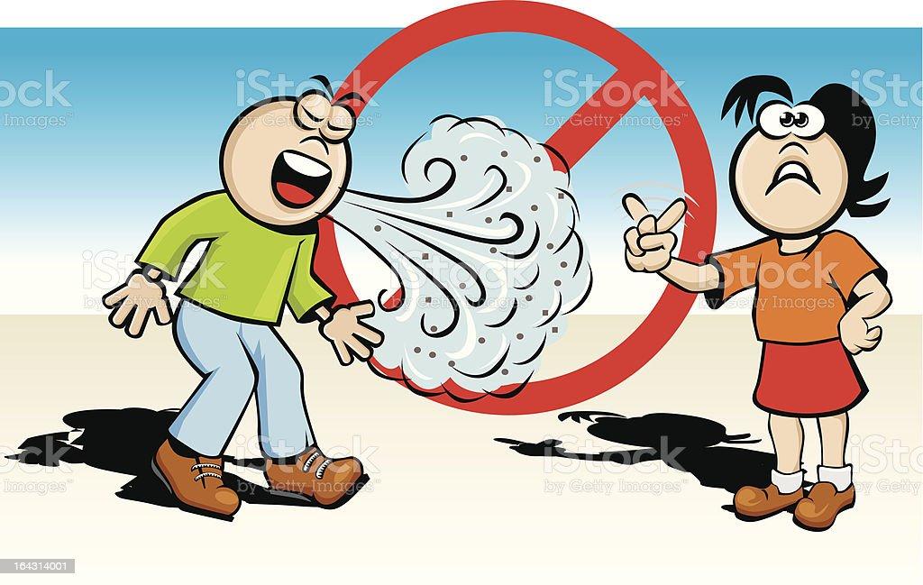 Incorrect sneeze or caugh vector art illustration