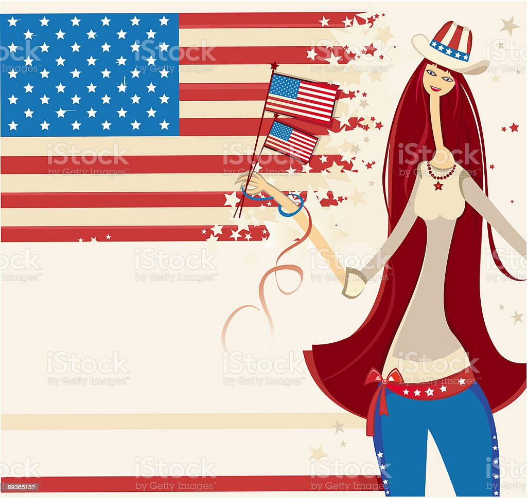 Independence Beautiful  American girl 1 royalty-free stock vector art