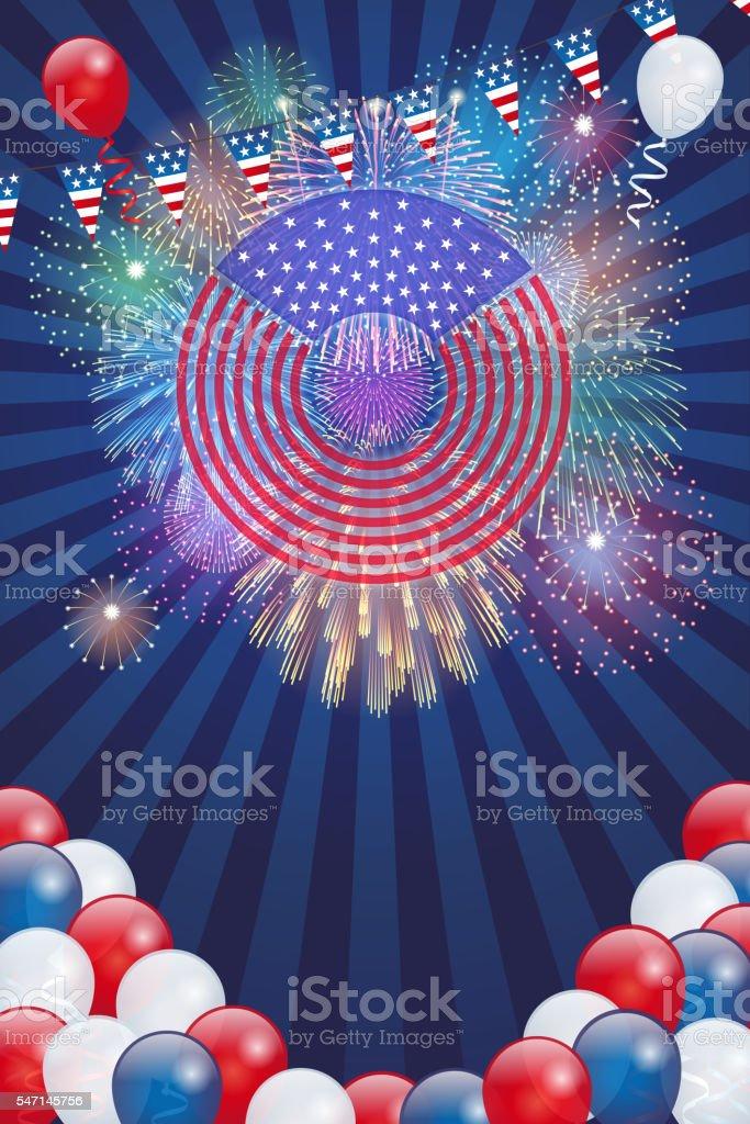 Independence Day background[Fireworks] vector art illustration