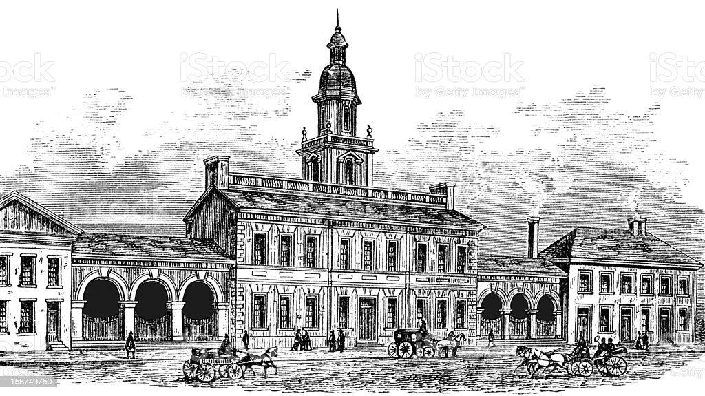 Independence Hall vector art illustration