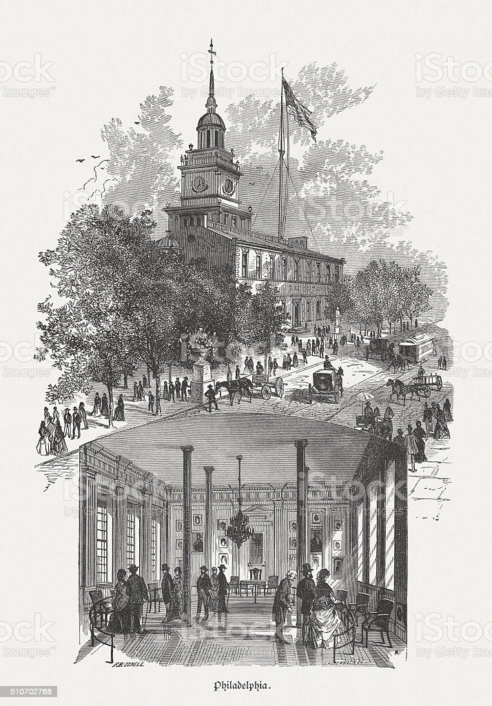 Independence Hall in Philadelphia, wood engraving, published in 1880 vector art illustration