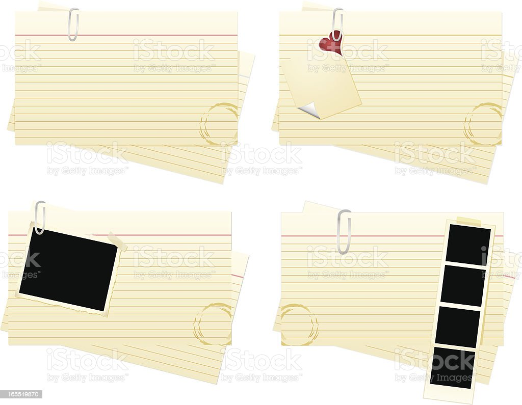 Index Card Four Pack vector art illustration