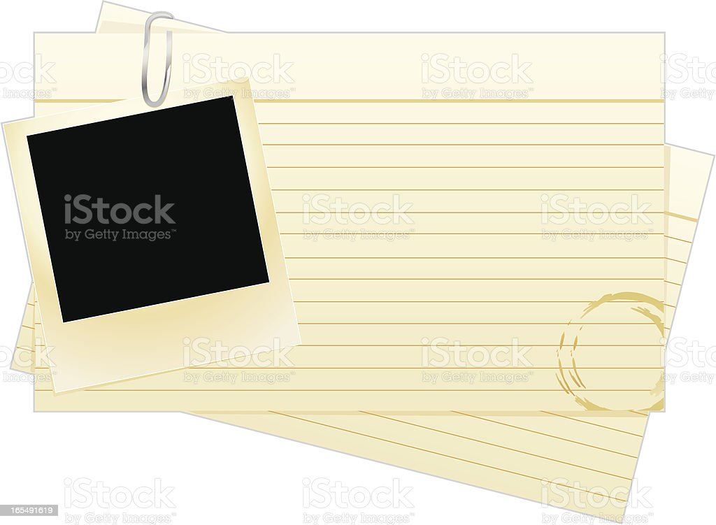 Index cards with empty photo frame vector art illustration
