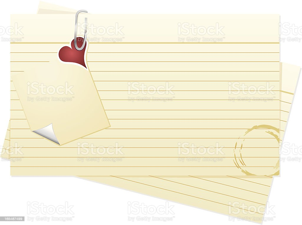 Index Cards with Valentine Note vector art illustration
