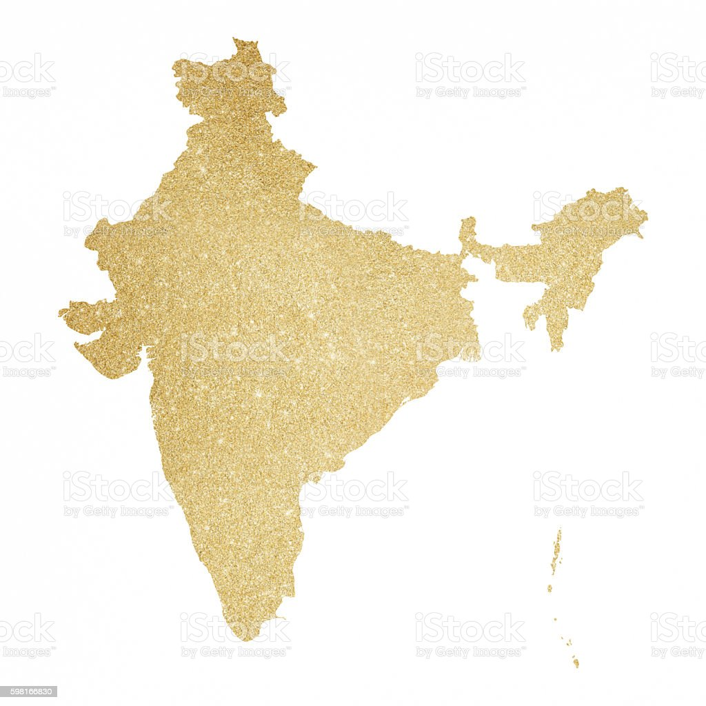 India Gold Glitter Map Royaltyfree Stock Vector Art