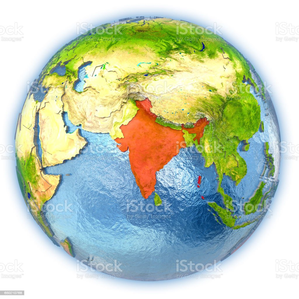 India on isolated globe vector art illustration