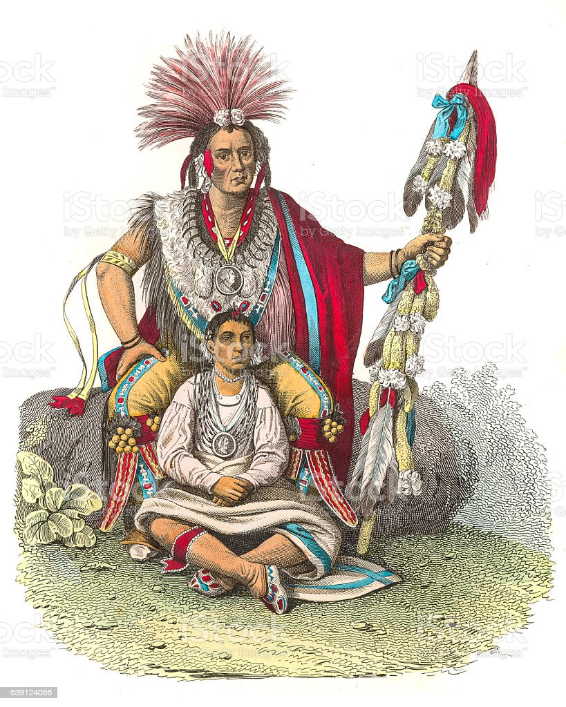 Indian chief Keokuk engraving 1853 vector art illustration