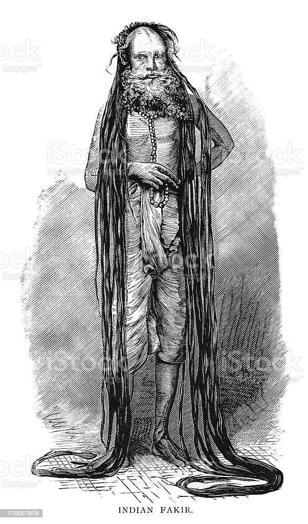 Indian fakir - Victorian wood engraving vector art illustration