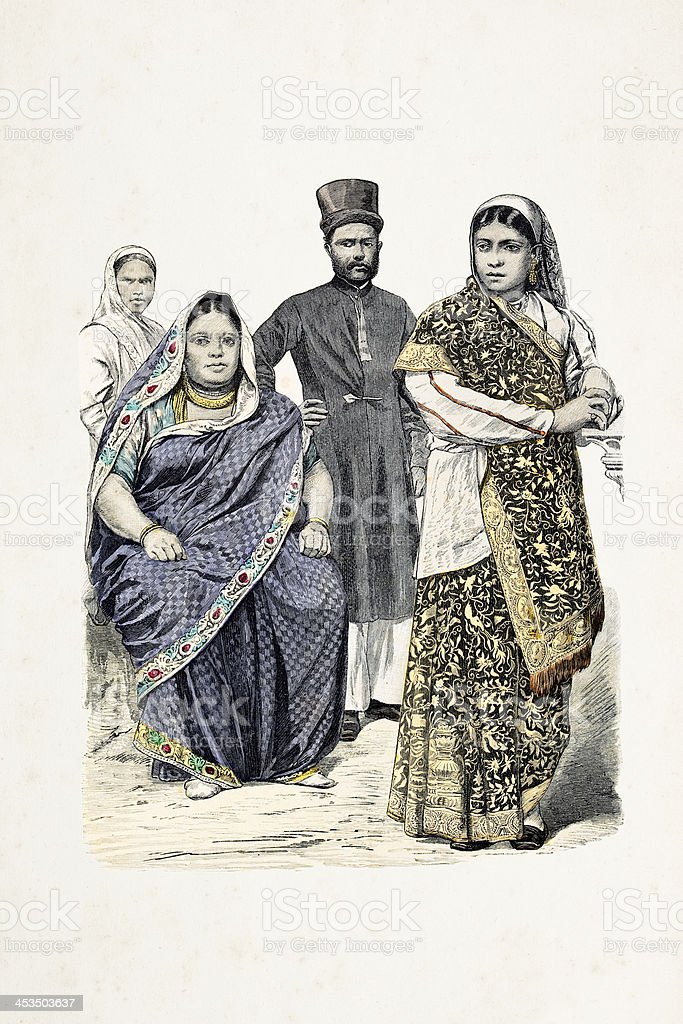 Indian family with different costumes from 19th century royalty-free stock vector art