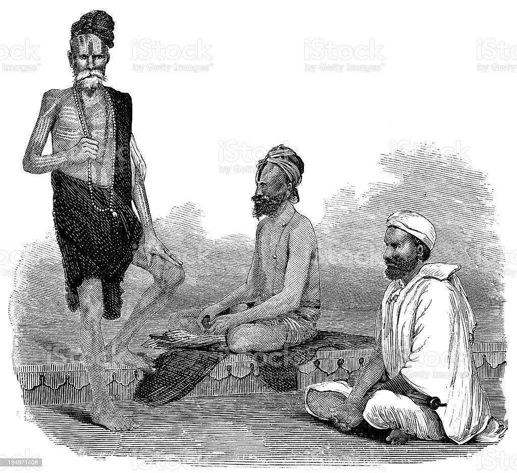 Indian Holy Men royalty-free stock vector art