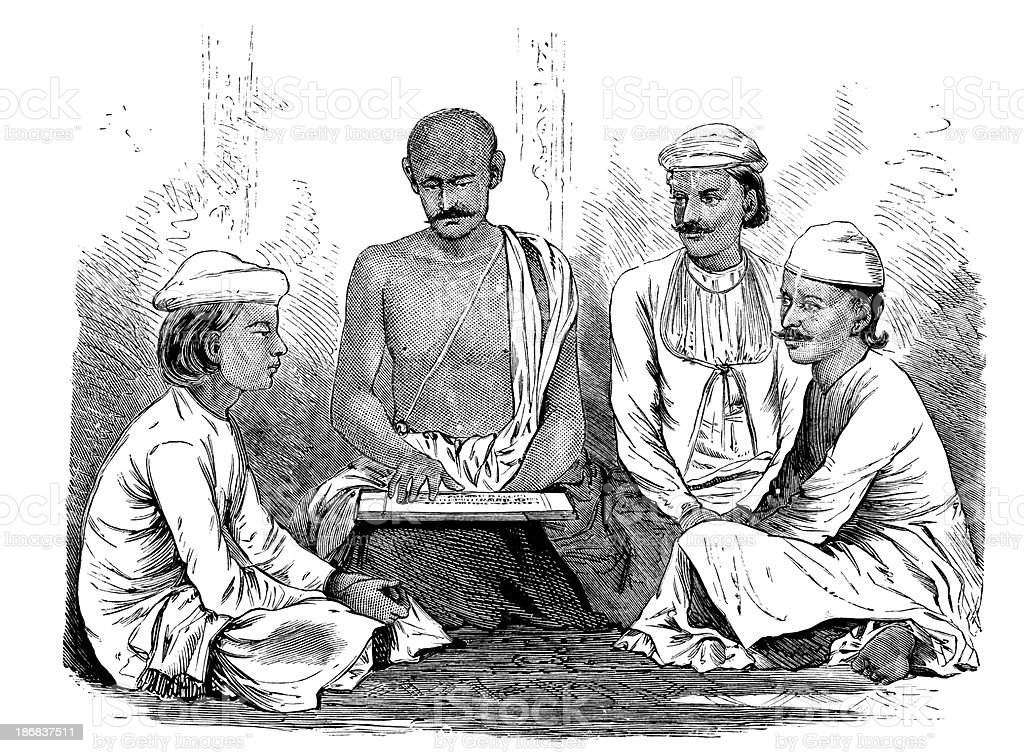Indian Men Learning royalty-free stock vector art
