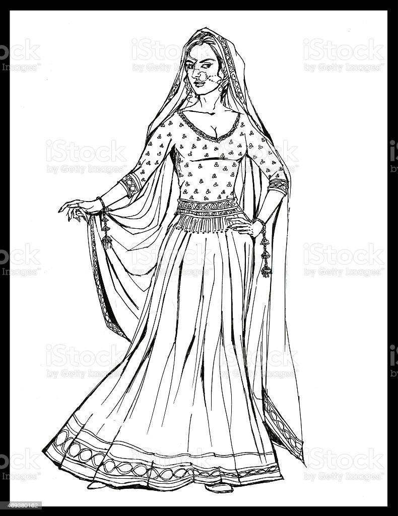 Indian panjabi women vector art illustration