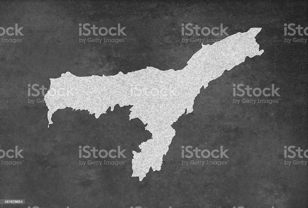 Indian Province Assam অসম Map Outline on an Blackboard stock photo