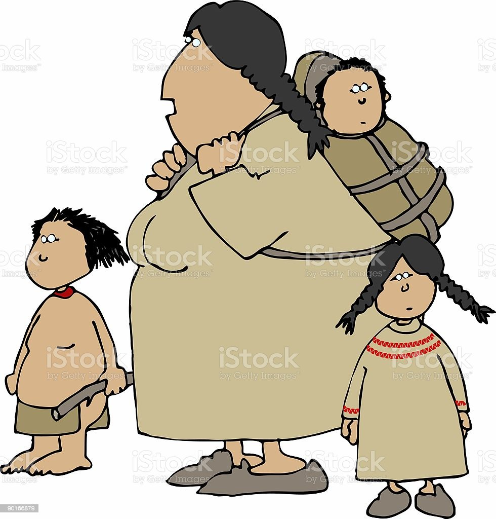 Indian Squaw and children vector art illustration