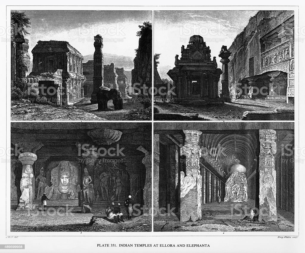 Indian Temples at Ellora and Elephanta Engraving vector art illustration