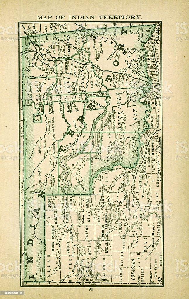 Indian Territory, Oklahoma | USA Antique Maps High Resolution vector art illustration