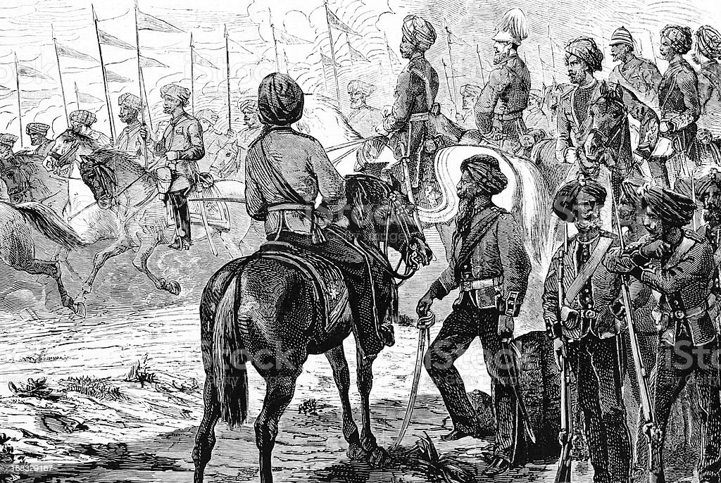 Indian troops called by English Government vector art illustration