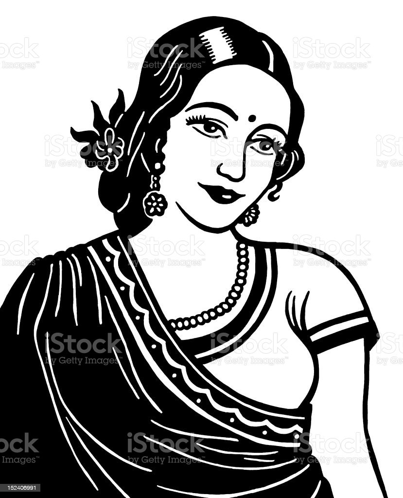 Indian Woman vector art illustration