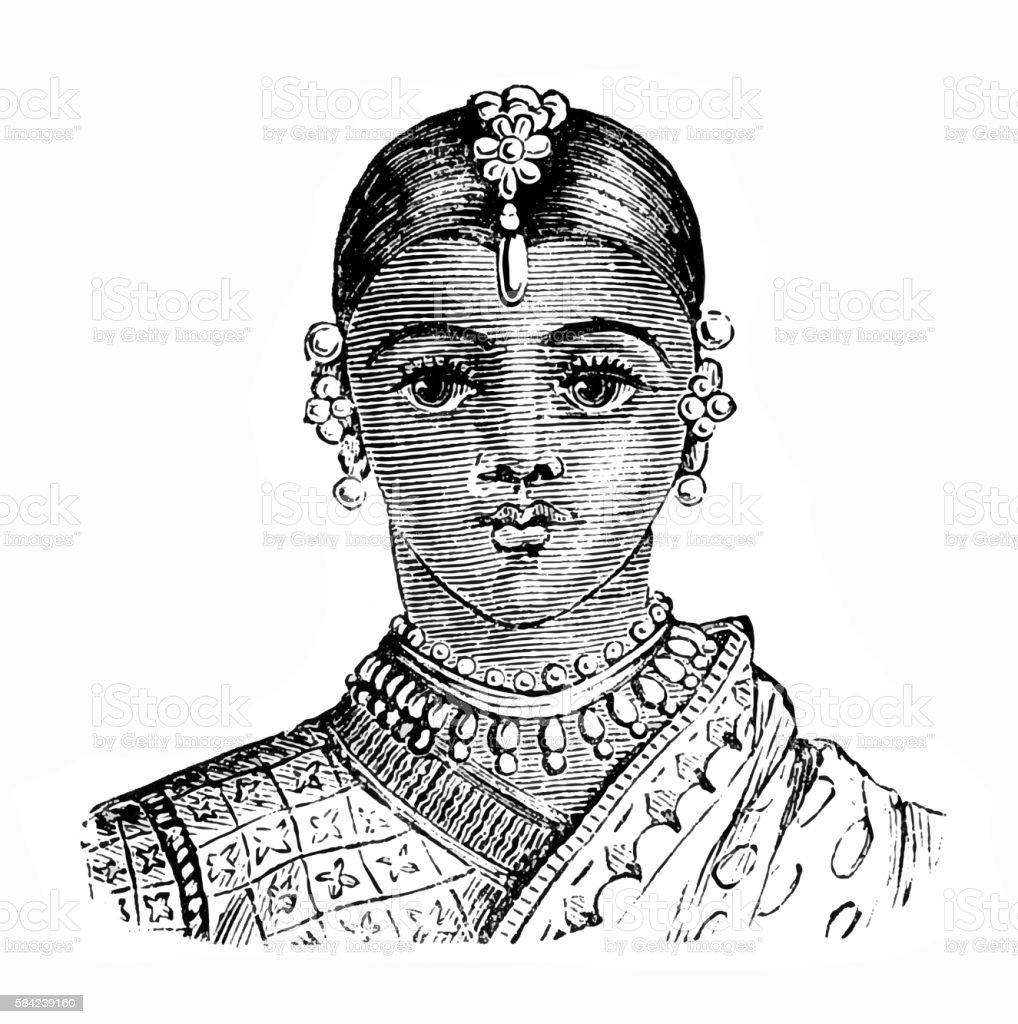 Indian woman vector art illustration