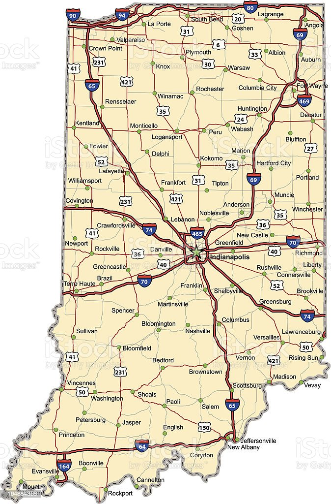 Indiana Highway Map vector art illustration