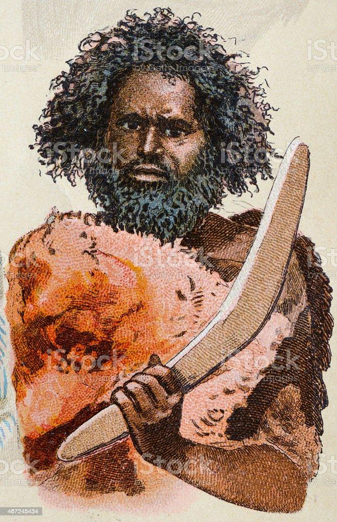 Indigenous Australian man, antique illustration, human ethnicities vector art illustration