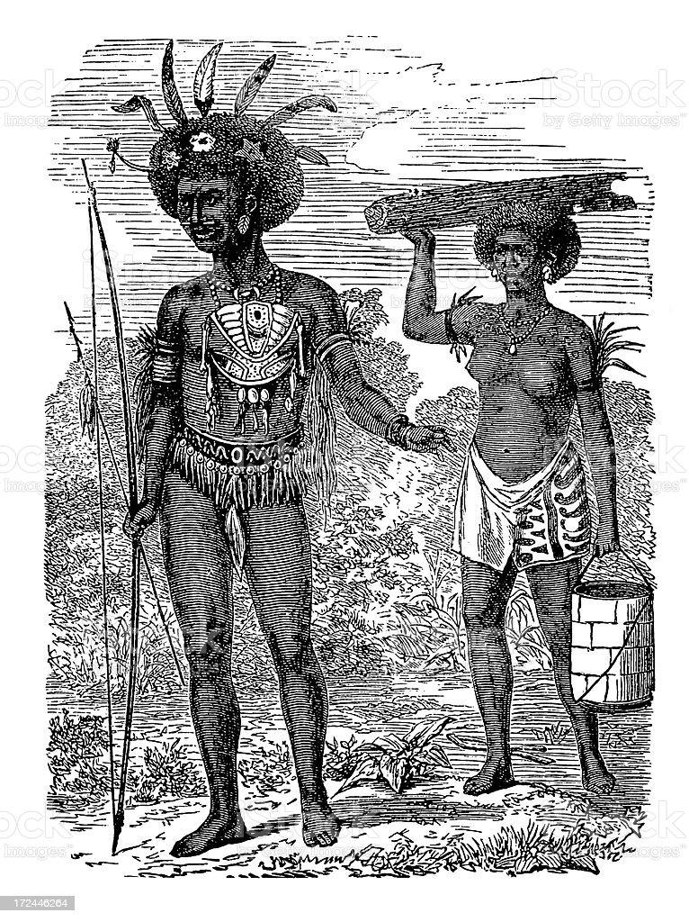 Indigenous inhabitants of Yos Sudarso Island (antique wood engraving) royalty-free stock vector art