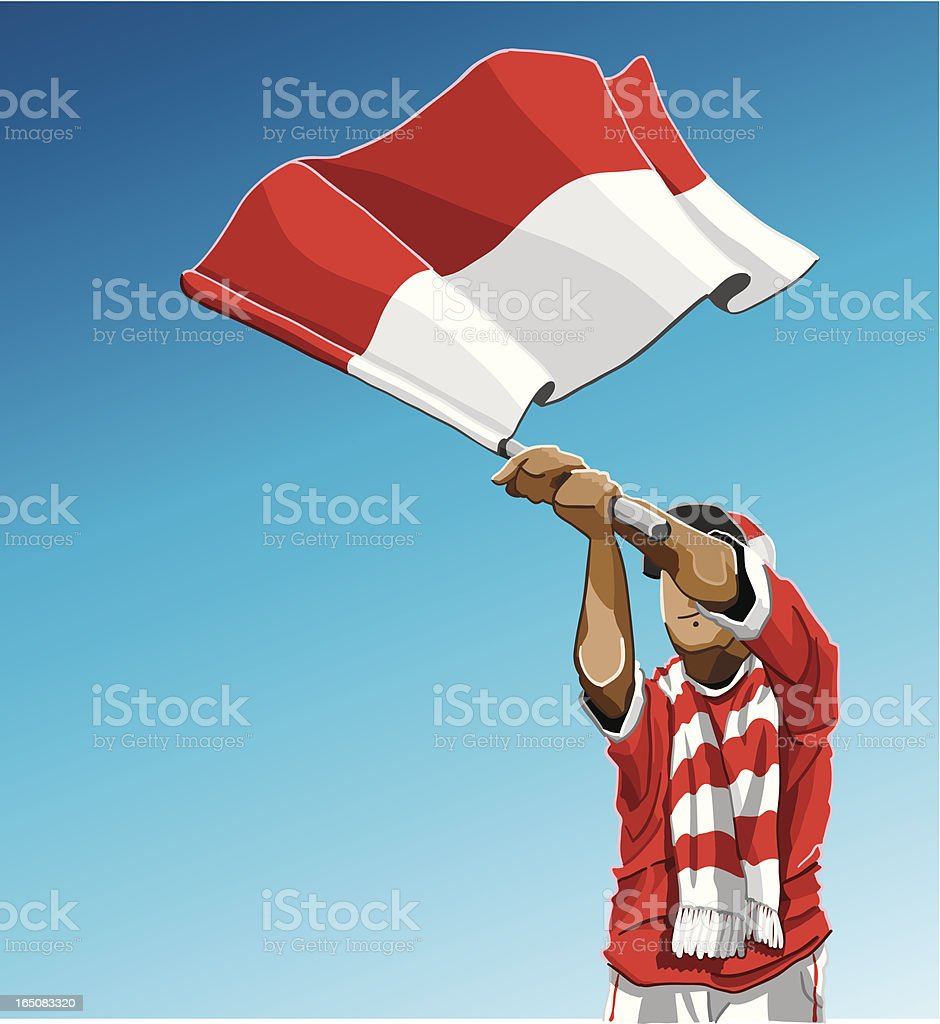 Indonesia Waving Flag Soccer Fan vector art illustration