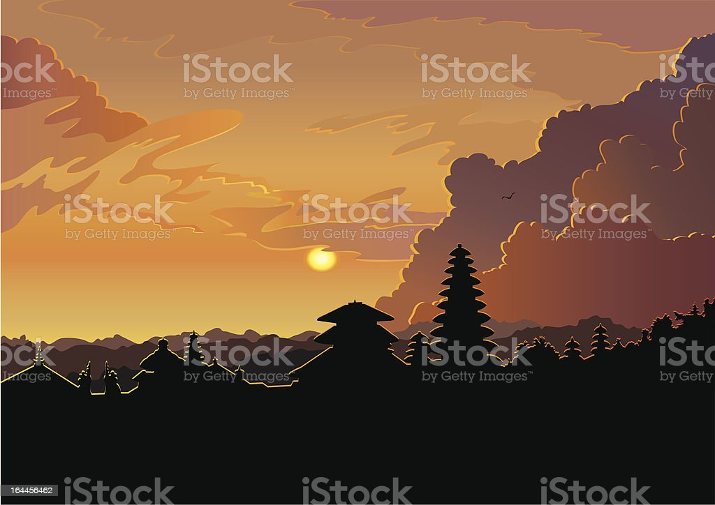 Indonesian old temple pura Besakih vector art illustration