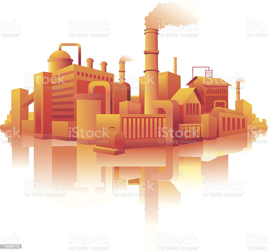 Industrial building in a city royalty-free stock vector art
