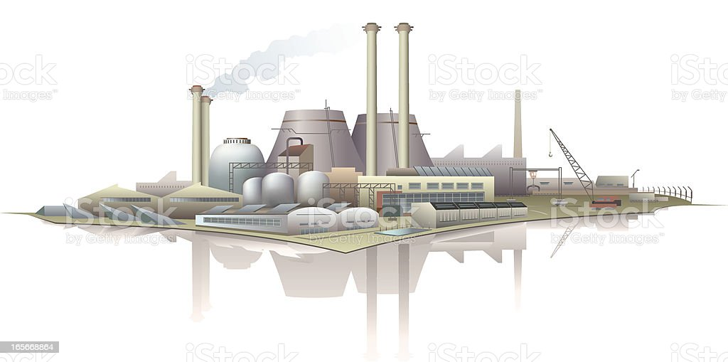 Industrial buildings at waterfront vector art illustration
