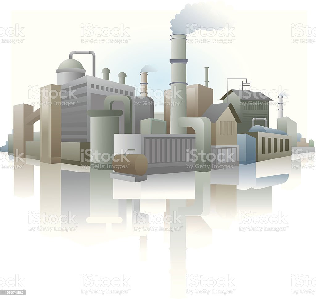 Industrial buildings in a city vector art illustration