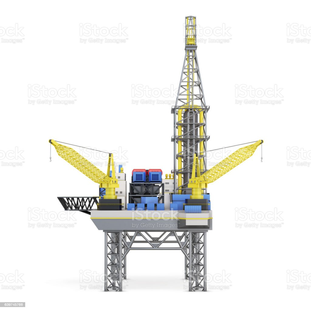Industrial platform isolated on white background. 3d rendering vector art illustration
