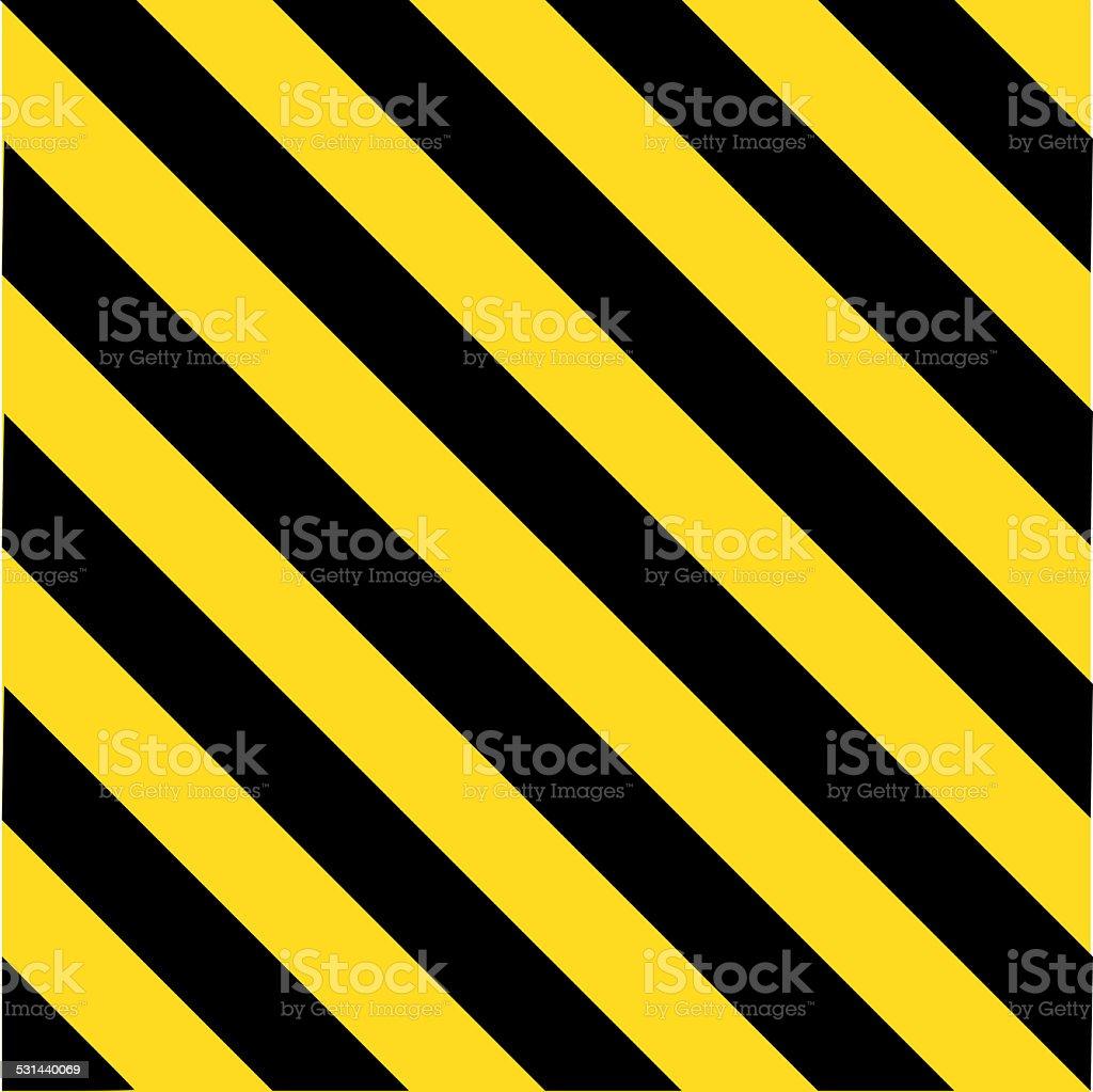 Industrial striped road warning yellow-black pattern vector art illustration