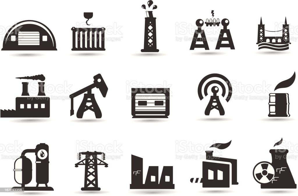 Industry and Factory Icons royalty-free stock vector art