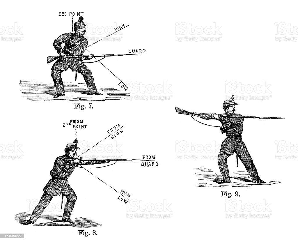 Infantry Bayonet Practice vector art illustration