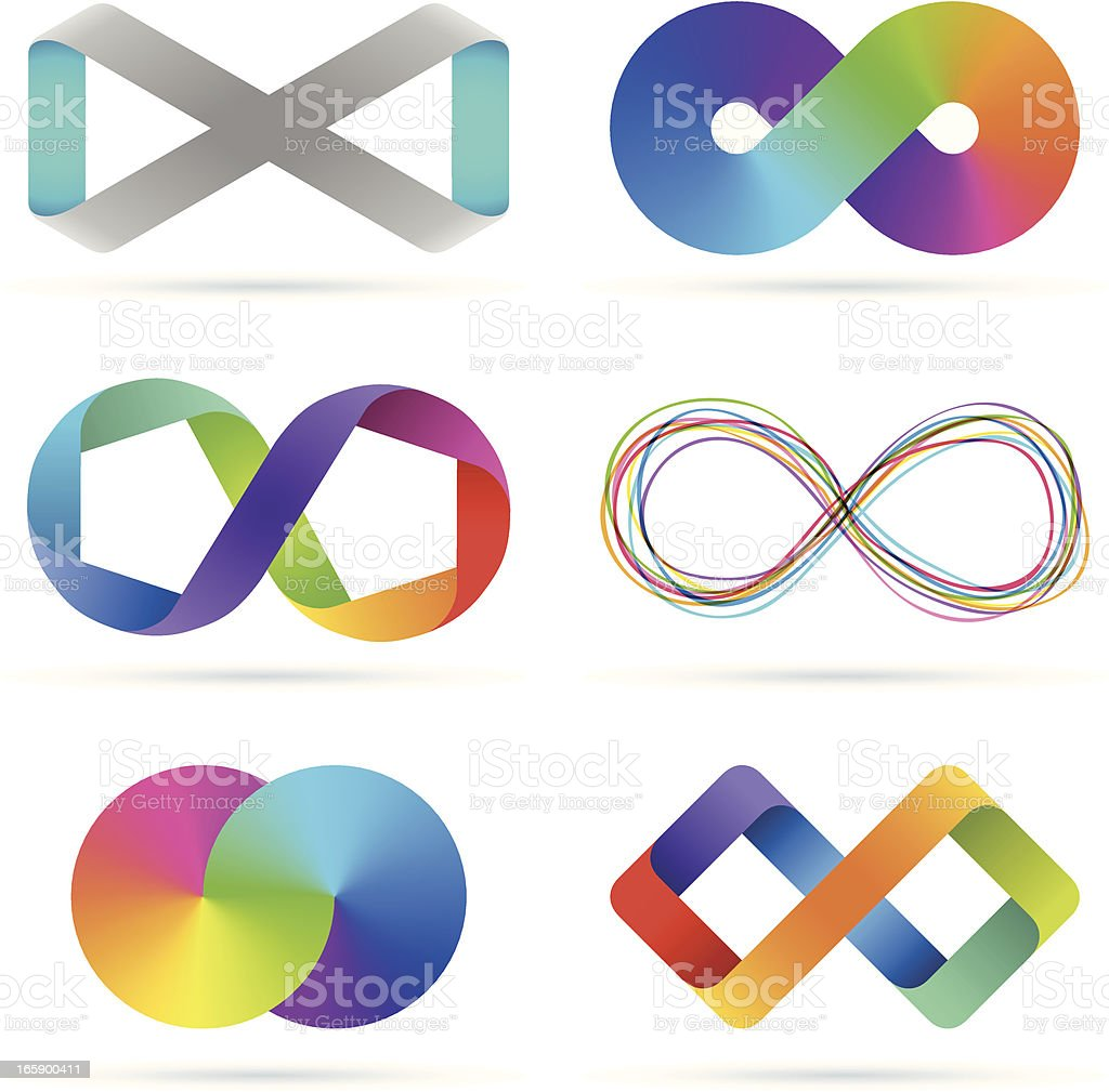 Infinity set vector art illustration