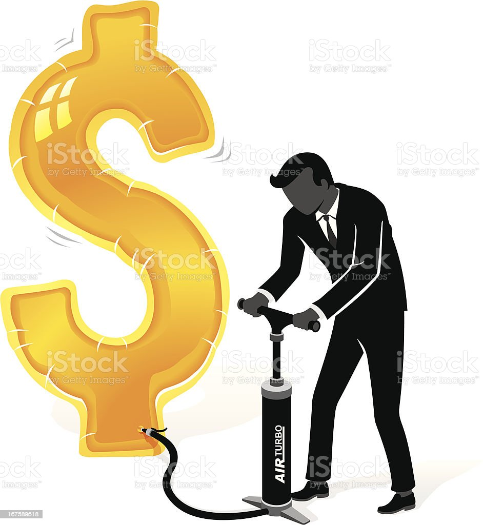 Inflating Dollar royalty-free stock vector art