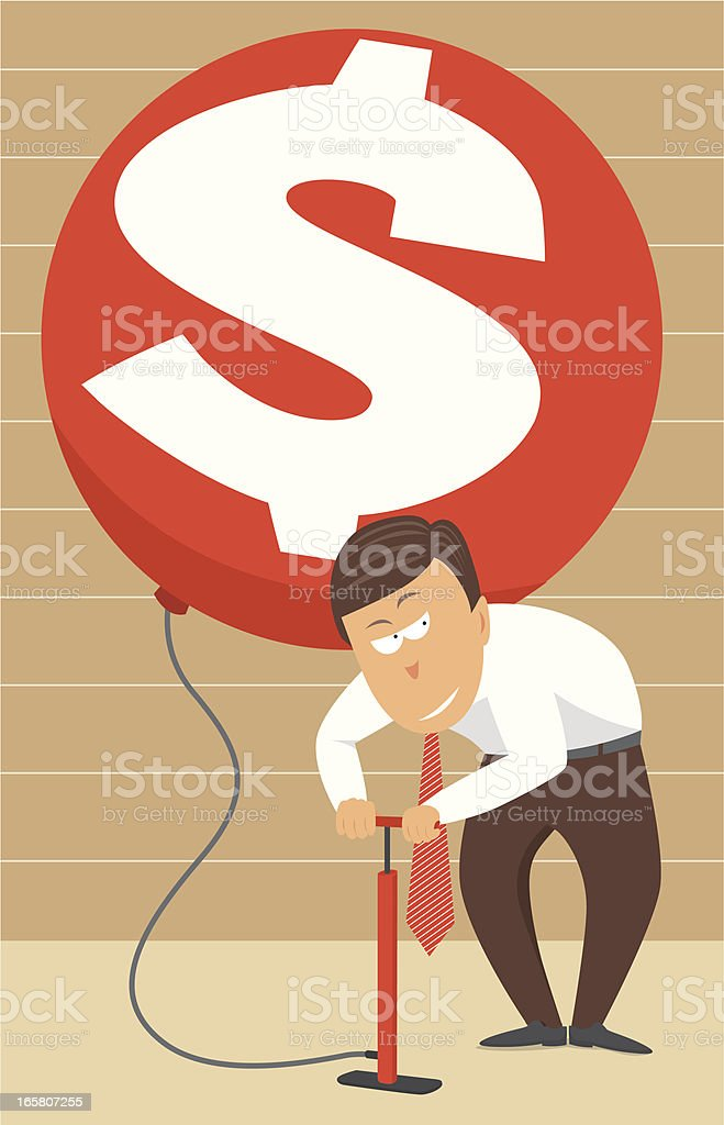 Inflating money / Higher rates royalty-free stock vector art