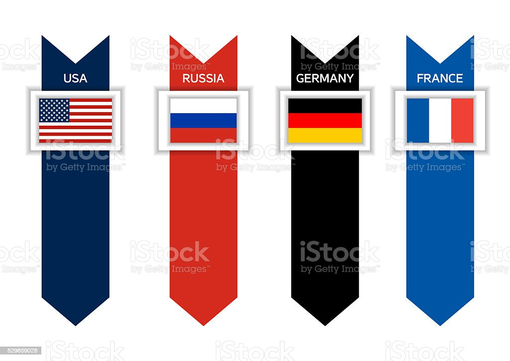 Infographic with 4  - USA, Russia, Germany and France stock photo