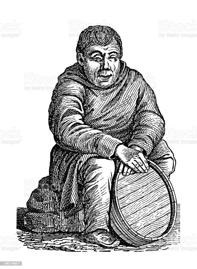 Inhabitant of Kamchatka, Siberia (antique wood engraving) royalty-free stock vector art