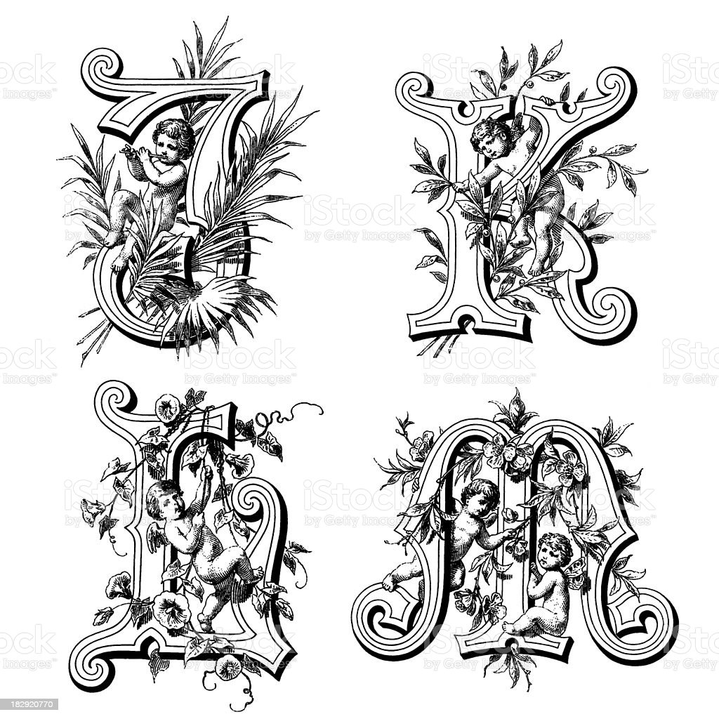 Initials with Angels royalty-free stock vector art