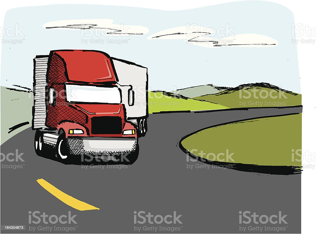 Ink drawing of a trailer truck vector art illustration