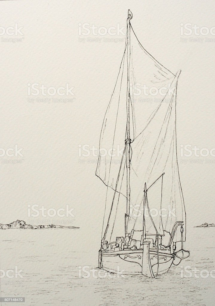 Ink line drawing of a Spritsail Sailing Barge vector art illustration