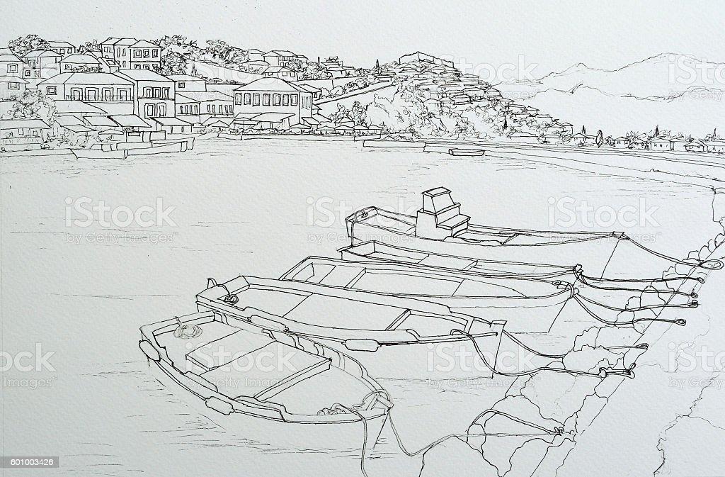 Ink line drawing of Molyvos harbor lesvos greece vector art illustration